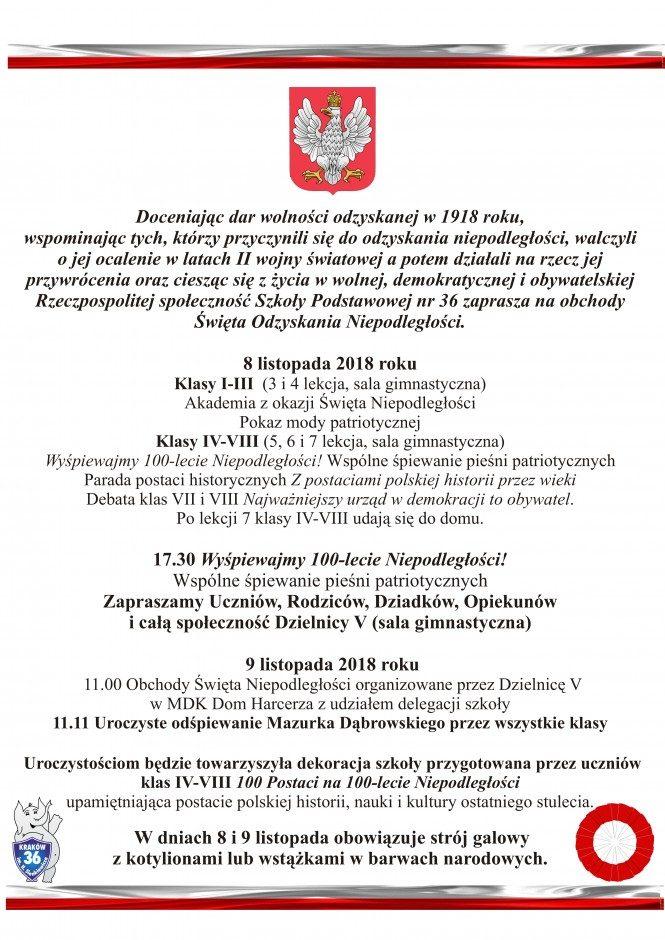święto Odzyskania Niepodległości Szkoła Podstawowa Nr 36 W